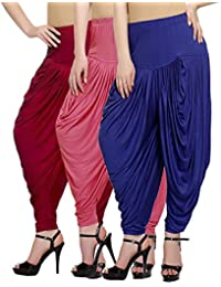 Fashion And Freedom Women's Pack Of 3 Red, Pink And Blue Lycra Base Viscose Dhoti