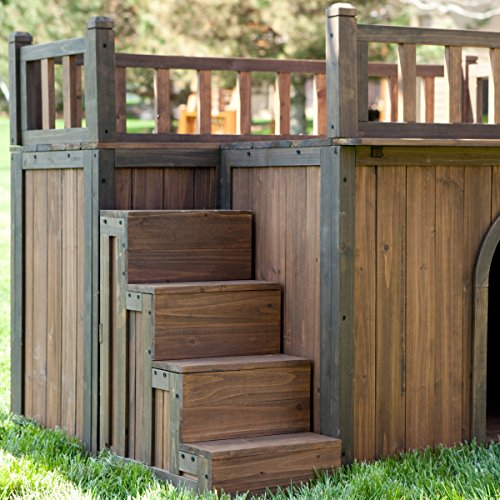 wooden outdoor dog house with balcony and staircase With wood dog houses home depot
