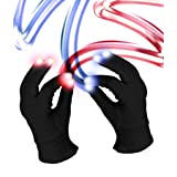 Fun Central C061, 1 Pair LED Light Up Black Magic Gloves, LED Rave Gloves, LED Finger Gloves, Light Up Rave Gloves (Color: Black, Tamaño: 2 Pieces)