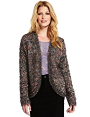 Indigo Collection Open Front Fluffy Cardigan