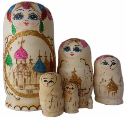 7.5inch Wooden Set of 7 Cutie Nesting Dolls Matryoshka Madness Russian Doll - 1