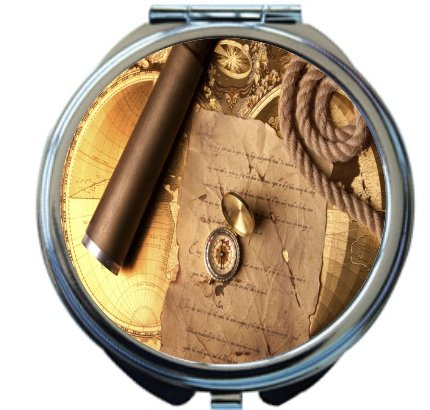 Rikki Knighttm Vintage Navigation Compass Map And Telescope Design Round Compact Mirror
