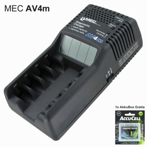 Akku-Trainer AV4 Ladegerät mit LCD Display AV4m und AccuCell AkkuBox