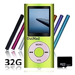 OutMad Green 32 GB Mini Usb Port Slim Small Multi-lingual Selection 1.78 LCD Portable MP3/MP4, MP3Player , MP4 Player , Video Player , Music Player , Media Player , Audio Player and Voice Recorder