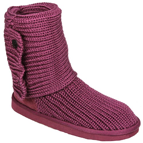 Spot On - Childrens Girls Knitted Button Boot in pink Boots Girlswear -