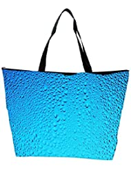 Snoogg Blue Water Drops Designer Waterproof Bag Made Of High Strength Nylon