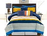 COMPASS Borders 6 Piece Luxurious Comforter Set, Full/Queen, Multicolor