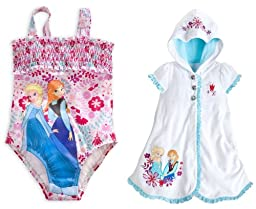 Disney Store Frozen Elsa/Anna Swim Set: Floral Swimsuit/Cover-Up Size Large 9/10