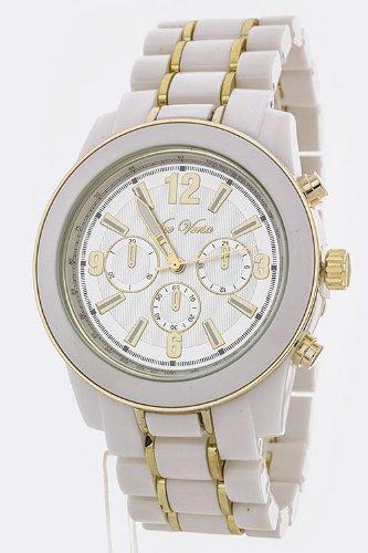 Trendy Fashion Jewelry 2 Tone Tortoise Bracelet Fashion Watch By Fashion Destination | (White)