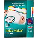 Avery Index Maker Clear Label Dividers, 12-Tab Set (11404)