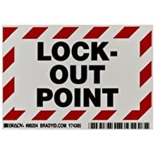 "Brady 86204 3-1/2"" Height, 5"" Width, B-302 High Performance Polyester, Black And Red On White Color Lockout Point Labels, Legend ""Lock-Out Point"" (Pack Of 5)"