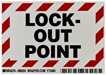 """Brady 86204 3-1/2"""" Height, 5"""" Width, B-302 High Performance Polyester, Black And Red On White Color Lockout Point Labels, Legend """"Lock-Out Point"""" (Pack Of 5)"""