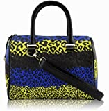 KCMODE Ladies Designer Blue Brown Yellow Multi Colour Animal Print Bowling Handbag