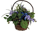Blue Hydrangea Floral Basket Green Berry Mixed Foliage Natural Twig Basket Silk