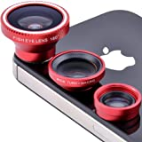 Patuoxun Fisheye Lens Wide Angle Macro Lens Photo Kit Set for iPhone 5 4 4S (Red)
