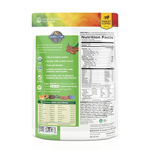 Garden Of Life Organic Protein Powder Vegan Plant Based Protein Powder Coffee 256g