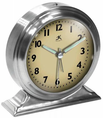 """Boutique Silver Metal Alarm Clock, 5.75""""Diameter, Silver"""