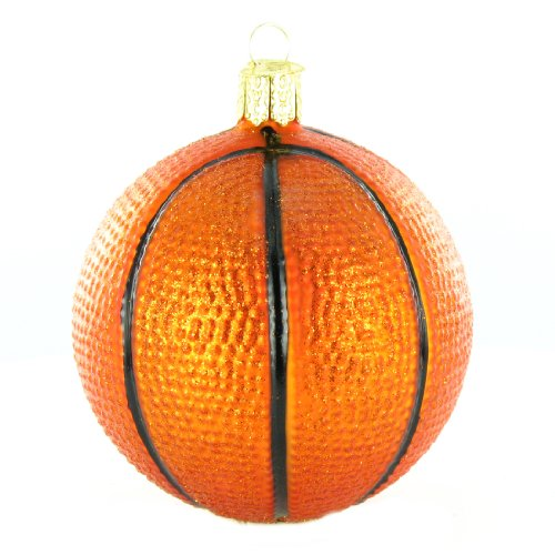 Christmas Basketball Glass Blown Ornament