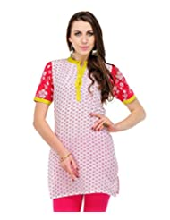 Yepme Connie Floral Print Kurti - White & Red