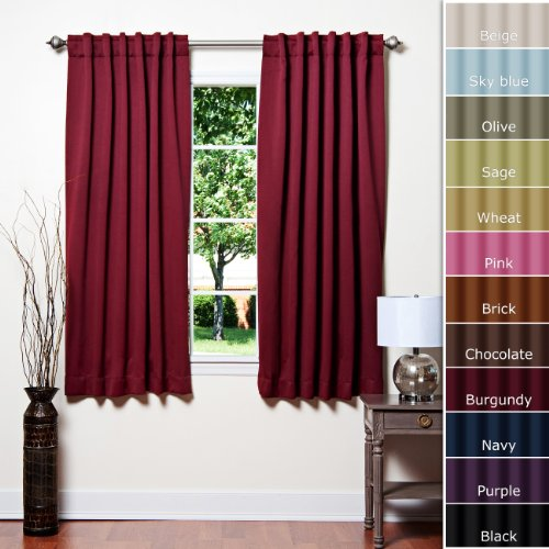 "Solid Thermal Insulated Blackout Curtain 63""L- 1 Set-BURGANDY"