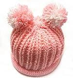 (ル・タン)Le TEMPS ハンドメイド ベビー用ニット帽子 ボンボン付 1~3歳用 8(ライトピンク×ホワイト)
