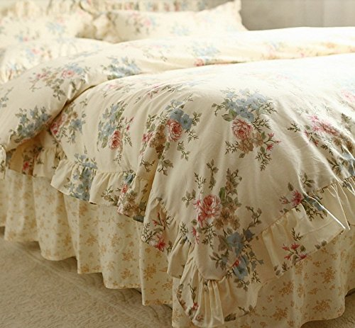 FADFAY Home Textile,Vintage Floral Print Bedding Set,Elegant French Country Style Bedding Set,4Pcs 3