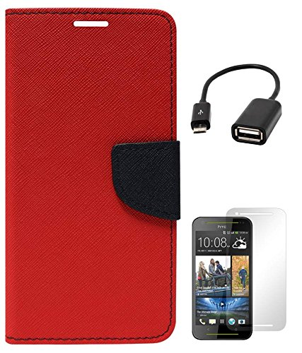 DMG Mercury Goospery Premium Wallet Cover Case for HTC Desire 700 (Red) + Matte Screen + USB OTG Cable