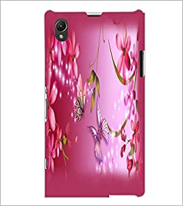 PrintDhaba Butterfly and Flowers D-2147 Back Case Cover for SONY XPERIA Z1 (Multi-Coloured)