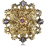 Vintage Victorian Inspired Gold Tone Royalty Crest Crystal Rhinestone Pin Brooch