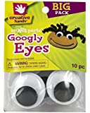 Creative Hands by Fibre-Craft - 40mm Black Glue-On Googly Eyes - 10 Pack