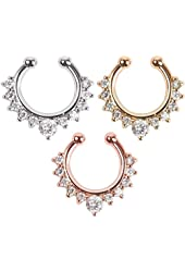 3 Piece Clip on Jewelry Creative Fake Septum Clicker Nose Ring