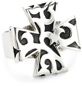 """LH MEN """"Tribal"""" Tribal Carved Maltese Cross Ring Size 10"""