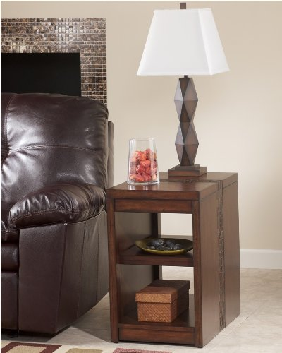 "Cheap MediumBrown Rectangular Chairside End Table by ""Famous Brand"" Furniture (T675-7)"