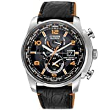 """Citizen Mens AT9010-28F """"World Time A-T Limited Edition"""" Stainless Steel Eco-Drive Watch with Leather Band"""