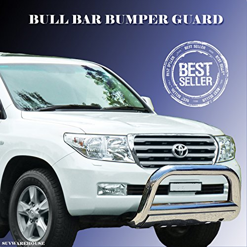 Wynntech Front Bull Bar Bumper Guard Protector with Skid Plate Stainless Steel for 2008-2016 Toyota Land Cruiser with License Plate Re-Locator Mount as FREE GIFT (Bull Bar Land Cruiser compare prices)
