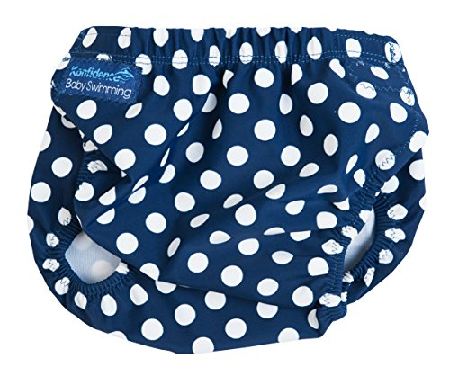 Konfidence Baby Girls Aquanappy Reusable Swim Diaper Polka Dot One Size (3-30 Months) Navy