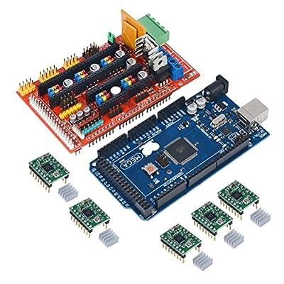 LEORX AMPS 1.4 REPRAP 3D Printer Controller + Mega2560 R3(Arduino Compatible) + 5pcs A4988 Stepper Driver Module for 3D Printer Prusa Mendel MakerBot