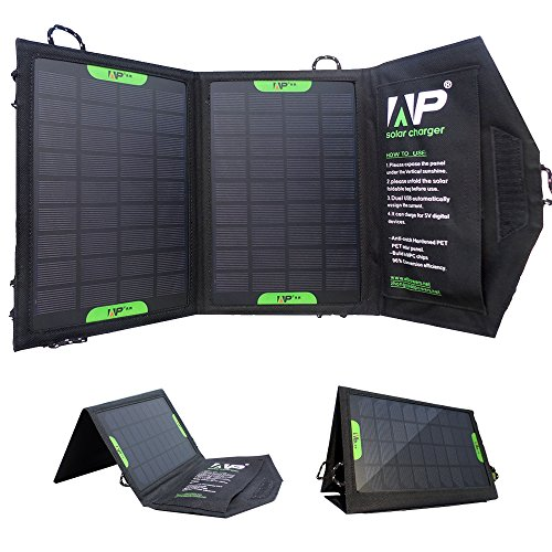 Allpowers 8W Portable Foldable Solar Charger Panel Iphone Battery Charger External Battery Pack Power Bank Pack Charger For Mobile Phones, Iphone, Samsung, Blackberry, Oppo, Lg, Pda, Mp4, Gps Units, Digital Camera, Video Camera, Psp Video Games, Bluetooth