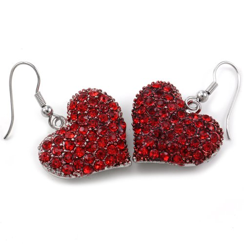 SoulBreezeCollection Valentines Day Red Heart Earrings Drop Dangle Gift for Mom Her Girlfriend