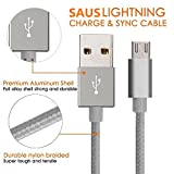 Lightning Cable, SAUS 2Pack 10FT Nylon Braided Extra Long Micro USB Cable High Speed USB 2.0 A Male to Micro B Sync and Charging Universal for Samsung, HTC, Motorola, Nokia, Android, and More(Gray)