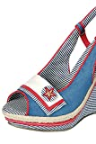 Pin-up Navy Sailor Star & Stripes Slingback Peep Toe Platform Wedge Sandals (6, BLUE)