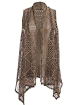 Anna-Kaci S/M Fit Multicoloured Edgy Punk Inspired Fishnet Crochet Shawl Vest