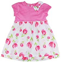 B.F. Baby Girls Short Sleeve Bow Fashion Tulip Dress 3-6M pink
