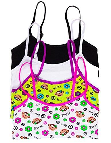 Caramel Cantina Girls 4 Pack Training Bras In Fun Patterns (Large, Green/White Monkeys) front-791986