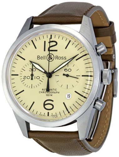 Bell & Ross Men's BR123-ORIGINAL BEIGE Vintage Ivory Dial and Brown Strap Watch