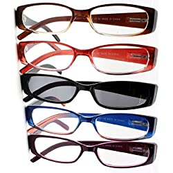 Spring Hinge Plastic Reading Glasses (5 Pairs), Includes Sunglass Readers