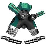 Lifebee Garden Water Hose Splitter, Zinc Alloy Y Ball Valve Connector 2 Way with 10-Piece Washer