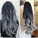 24 Inches Long Wavy Curly Clip in Ombre 3/4 Half Head Wig DL (Wavy-Black to grey) (Color: Wavy-Black to gray)