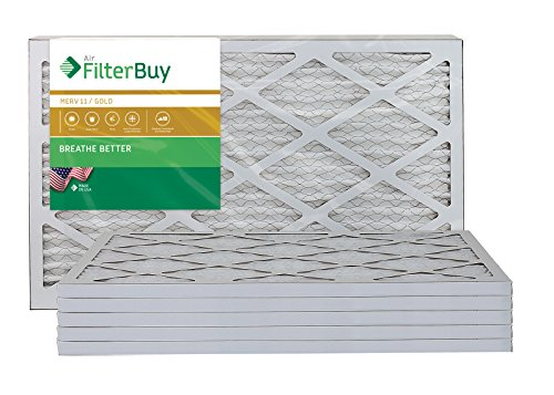 AFB Gold MERV 11 10x20x1 Pleated AC Furnace Air Filter. Pack of 6 Filters. 100% produced in the USA.