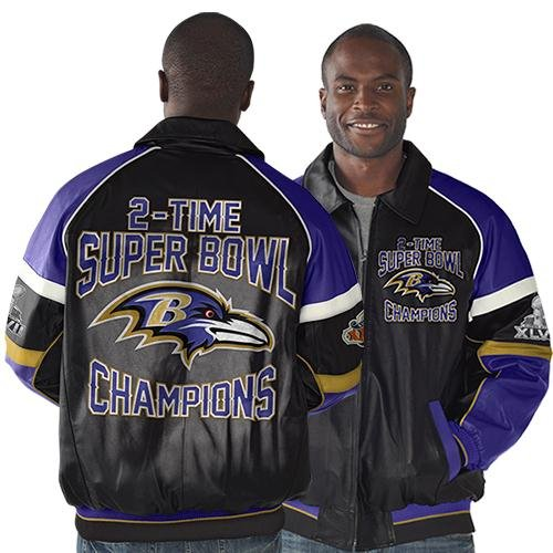 Baltimore Ravens Super Bowl XLVII Champions 2Time Champions Commemorative Leather Jacket BlackPurple at Amazon.com